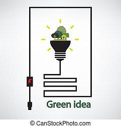 concepts, arbres, ampoule, feu vert, fond