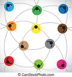 concepts, gens, illustration:, toile, basé, réseau, &, contient, autre, ligne, etc, réseau, coloré, équipe, connecté, travail, représenter, graphique, ceci, icônes, community., communauté, chaque