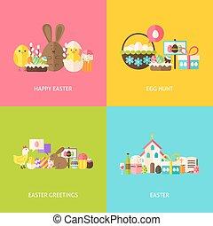 concepts, joyeuses pâques, ensemble, salutations, plat