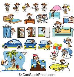 concepts, vecteur, illustrations, caractère, -, ensemble, détective, agent, dessin animé