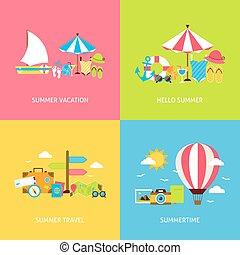 concepts, voyage, été, ensemble, vecteur, plat