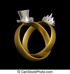 conceptuel, anneaux, conception, mariage