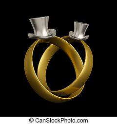 conceptuel, anneaux, homosexuel, conception, mariage