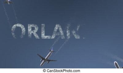 conceptuel, révéler, caption., animation, voler, avions, uni, intro, orlando, etats, voyager