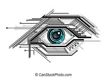 conceptuel, stylisé, technologie, oeil
