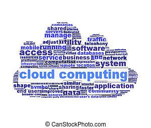 conceptuel, symbole, conception, nuage, calculer