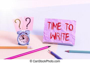 conceptuel, toile fond., mini, incliné, temps, papier, write., idée, taille, quelque chose, placé, enregistrement, photo, exprès, ou, horloge, livre, stationnaire, projection, signe, texte, à côté de, reveil, pastel