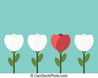 conceptuel, unique, fleur, rouges
