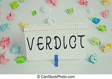 conceptuel, verdict., vide, civil, rappel, blanc, chiffonné, papiers, ou, cas, texte, plancher, photo, projection, criminel, signe, fait, clothespin., fond, question, décision, coloré