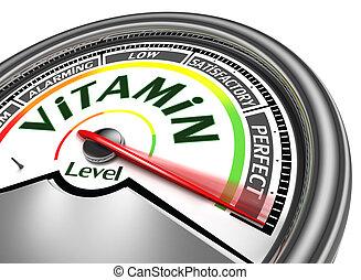 conceptuel, vitamine, mètre, niveau