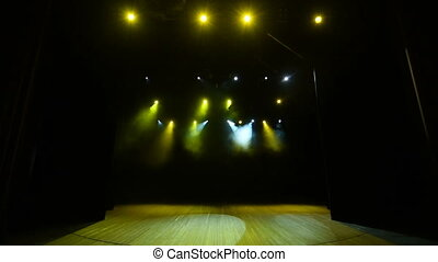 concert, étape, fond, lumières jaunes