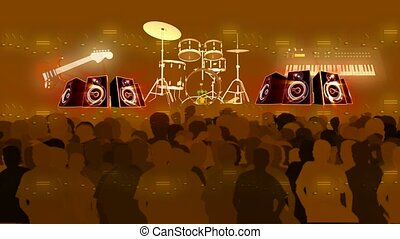 concert, foule, musical