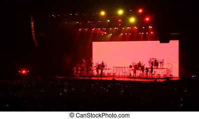 concert, gens, exposition, chanteurs, salle, regard