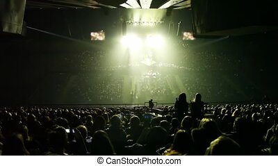 concert, lumière, scène, rayons, panorama, salle