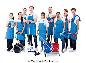concierges, grand, équipement, groupe, divers