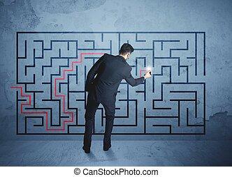 conclusion, labyrinthe, homme affaires, solution