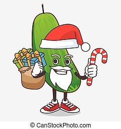 concombre, caractère, bonbon, santa costume, mascotte, dessin animé