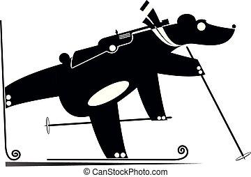 concurrent, illustration, biathlon, ours noir, blanc