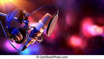 condensateur, équipement, microphone, studio, vivant, enregistrement