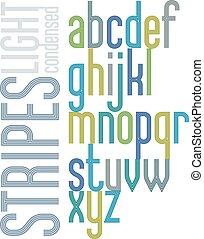 condensed, lettres, affiche, minuscule, arrière-plan., clair, retro, triple, raies, police, blanc