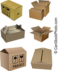 conditionnement, carton, boîtes, ensemble, isola