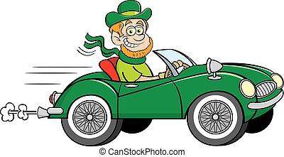 conduite, cabriolet, sports, voiture., dessin animé, lutin