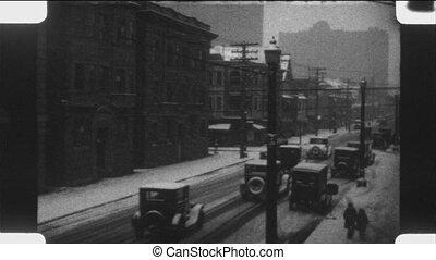 conduite, city., hiver, 1920s.