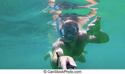 conduite, clair, jeune, eau océan, snorkel, homme