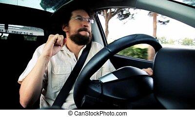 conduite, danse, voiture, amusement, avoir, homme