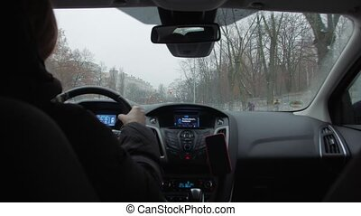 conduite, jeune femme, voiture