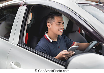 conduite, mobile, quoique, téléphone