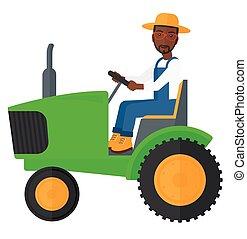 conduite, paysan, tractor.