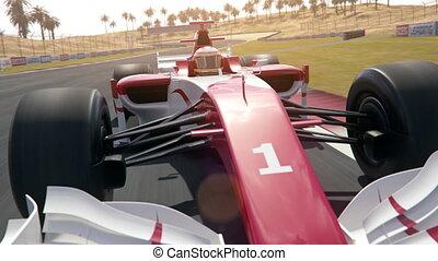 conduite, piste, voiture, -, dynamique, une, étendue, course, devant, formule, long, sud, vue