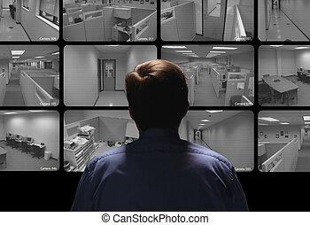 conduite, regarder, surveillance, garde, sécurité, plusieurs, moniteurs