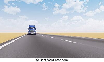 conduite, vide, désert, route, camion, fret, 3d