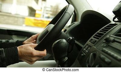 conduite, ville, femme, voiture
