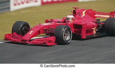 conduite, voiture, courbe, épingle à cheveux, une, course, par, formule, rouges