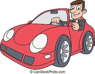 conduite, voiture, homme affaires