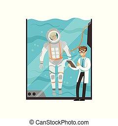 conduites, sous-marin, formation, moderne, technology., docteur, monde médical, tank., caractère, jeune, plat, arrosez verre, astronaut., examen, spacesuit., pilote, vecteur, dessin animé, homme