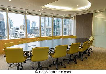 conférence, bâtiment, élevé, salle, grand