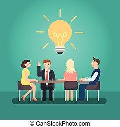 conférence, business, grand, desk., réunion, homme