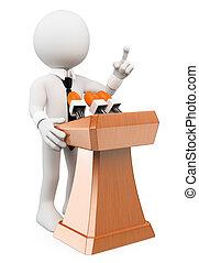 conférence, donner, gens., blanc, 3d, homme