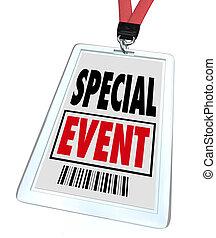 conférence, expo, lanyard, convention, écusson, événement, spécial