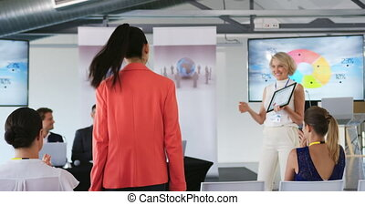 conférence, femme, présentation, business, orateur, récompense, femme, jeune