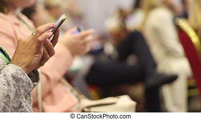 conférence, gadgets, femmes, mains affaires