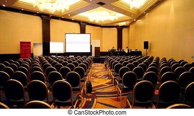 conférence, gens, coupure, peu, pendant, salle, vide