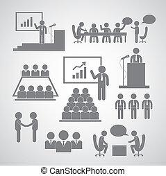 conférence, gestion, business, icône