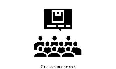 conférence, glyph, icône, animation, recherche, marché