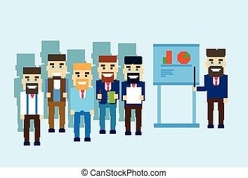 conférence, groupe, business, exposition, graphique, gens, homme affaires, réunion