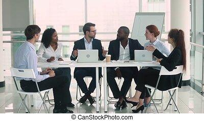 conférence, groupe, professionnels, divers, collaboration, table, idée génie